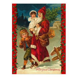 Vintage  German Santa and Kids Postcard