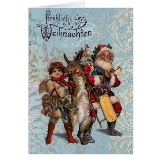 Vintage German Santa And Rabbit Christmas Card