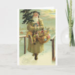 "Vintage German Santa Christmas Card<br><div class=""desc"">Victorian / Vintage German Christmas greeting card.  Lovely Santa carrying a Christmas tree and a basket of toys!  Fröhliche Weihnachten!  Frohliche Weihnachten!</div>"