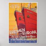 Vintage German Shipping advertising Poster Print