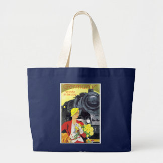 Vintage German Train Travel Ad Poster Large Tote Bag