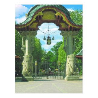Vintage Germany, Berlin Zoo, Elephant entrance Postcard