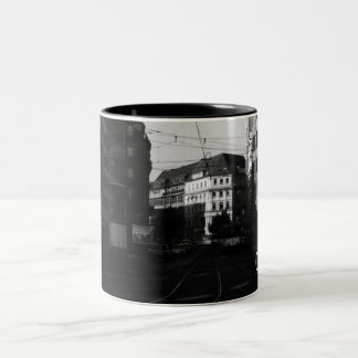Vintage Germany Frankfurt City street 1970 Two-Tone Coffee Mug