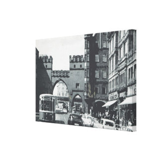 Vintage Germany, Munich, City trams and gateway Canvas Print