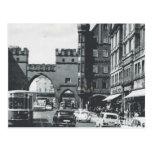 Vintage Germany, Munich, City trams and gateway Postcard