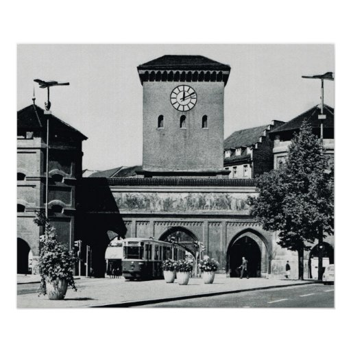 vintage germany munich station with trams 1950s poster. Black Bedroom Furniture Sets. Home Design Ideas