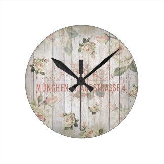vintage,germany,roses,typography,shabbychic,rose, round clock