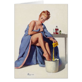 Vintage Get Well Soon Pinup Girl Art Card