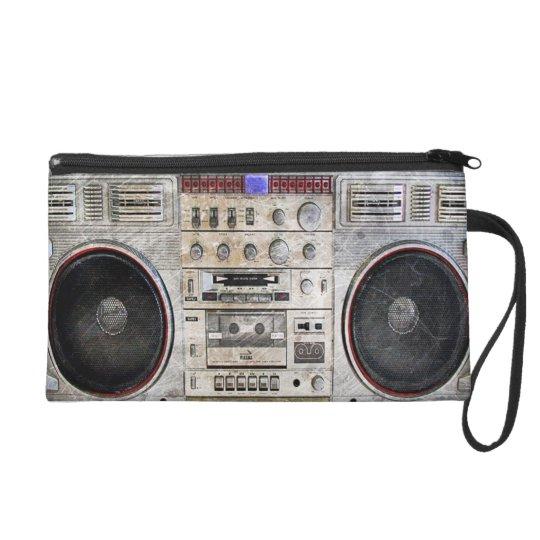 Vintage ghetto blaster wristlet purse