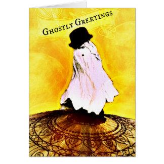 Vintage Ghostly Greetings Ghost Halloween Card