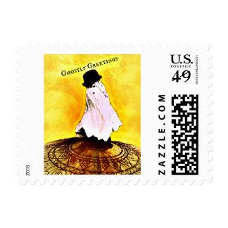 Vintage Ghostly Greetings Halloween Postage Stamps