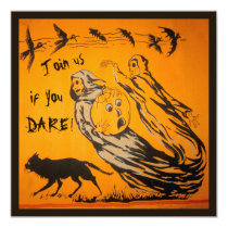 Vintage Ghosts, Crows, Bats, Cat Halloween Party Invitation
