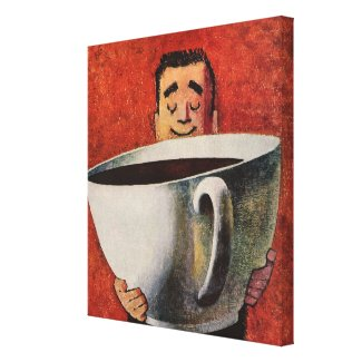 Vintage Giant Cup of Coffee wrappedcanvas
