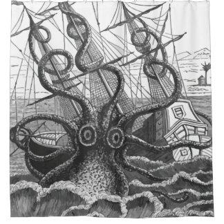 Vintage Giant Kraken Octopus Attacks Pirate Ship Shower Curtain