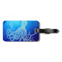 Vintage Giant Octopus in Deep Blue Ocean Luggage Tag