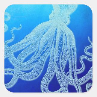 Vintage Giant Octopus in Deep Blue Ocean Square Sticker