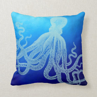 Vintage Giant Octopus in Deep Blue Ocean Throw Pillow