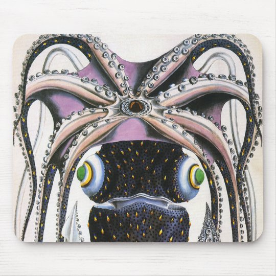 Vintage Giant Octopus or Squid, Marine Life Animal Mouse Pad