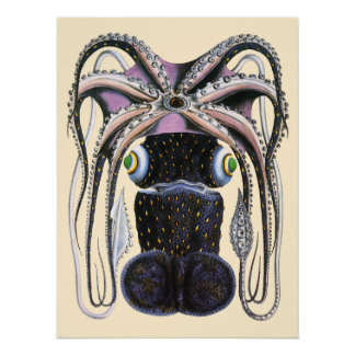Vintage Giant Octopus or Squid, Marine Life Animal Poster