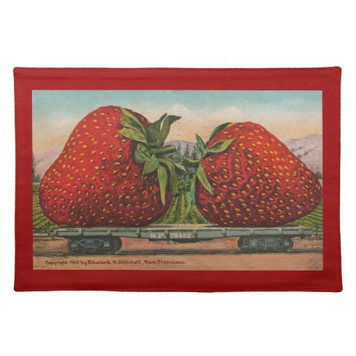 Vintage Giant Strawberries Placemat
