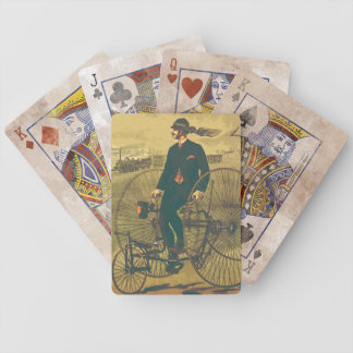 Vintage Giant Tricycle Gentleman Mustache Funny Bicycle Playing Cards