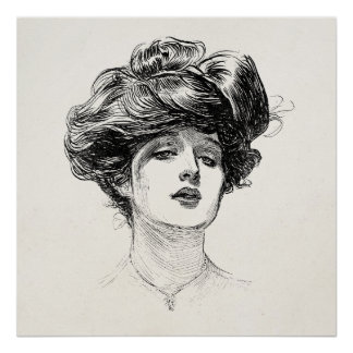 Vintage Gibson Girl Edwardian Retro Woman Portrait Poster