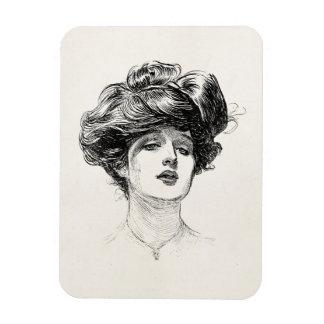 Vintage Gibson Girl Edwardian Retro Woman Portrait Vinyl Magnets