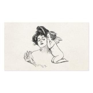 Vintage Gibson Girl Edwardian Woman Baby Cherub Business Card