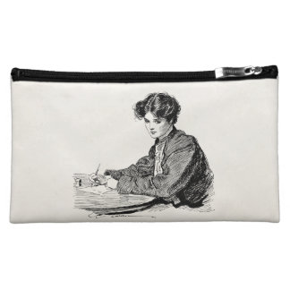 Vintage Gibson Girl Edwardian Woman Writing Letter Cosmetic Bag