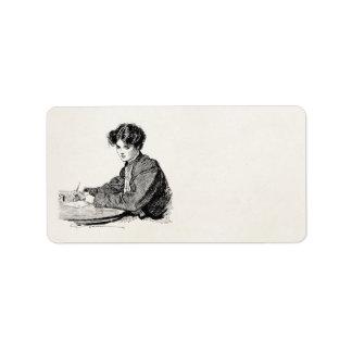 Vintage Gibson Girl Edwardian Woman Writing Letter Label