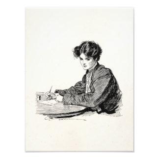 Vintage Gibson Girl Edwardian Woman Writing Letter Photo Print