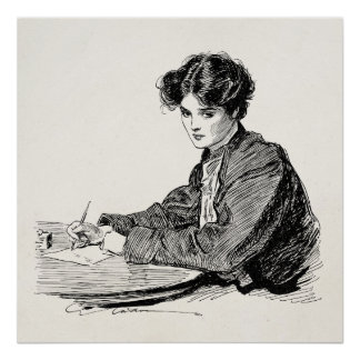 Vintage Gibson Girl Edwardian Woman Writing Letter Poster