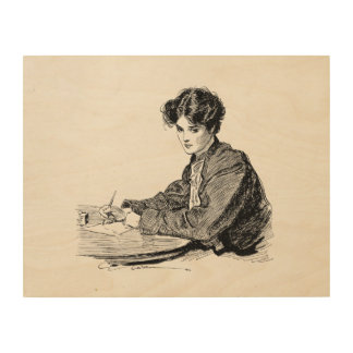 Vintage Gibson Girl Edwardian Woman Writing Letter Wood Print