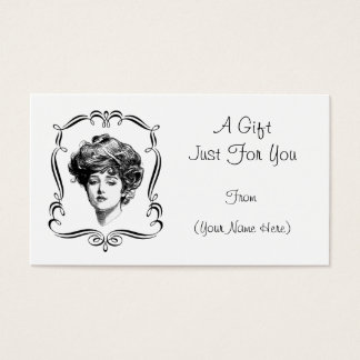 Vintage Gibson Girl Personalized Gift Card Tag