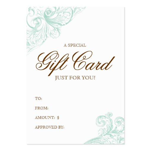 Vintage Gift Card Spring Green Acanthus Business Card Template