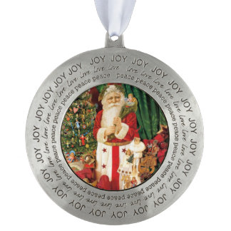 Vintage Gifts Santa Claus Round Pewter Decoration Ornament