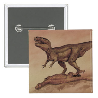 Vintage Giganotosaurus Dinosaur, Carnivore 2 Inch Square Button