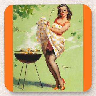 Vintage Gil Elvgren Barbeque Pin up Girl Beverage Coaster