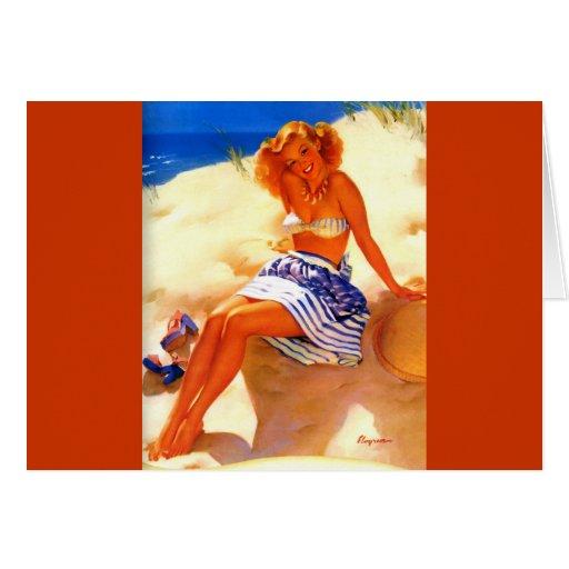 Vintage Gil Elvgren Beach Summer Pin up Girl Greeting Card