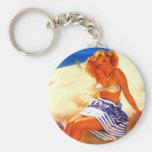 Vintage Gil Elvgren Beach Summer Pin up Girl Keychains