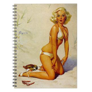 Vintage Gil Elvgren Beach Summer Pin up Girl Notebook
