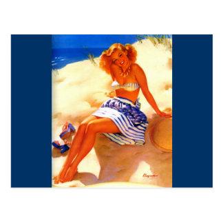 Vintage Gil Elvgren Beach Summer Pin up Girl Post Cards