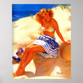 Vintage Gil Elvgren Beach Summer Pin up Girl Poster