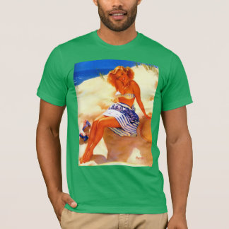 Vintage Gil Elvgren Beach Summer Pin up Girl T-Shirt