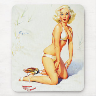 Vintage Gil Elvgren Beach Summer Pinup Girl Mouse Pad