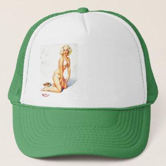 Vintage Gil Elvgren Beach Summer Pinup Girl Trucker Hat
