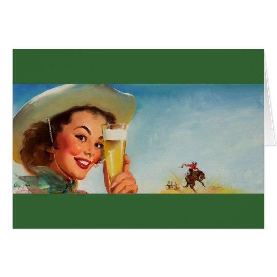 Vintage Gil Elvgren Beer Western Pin up Girl Card