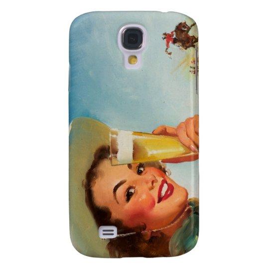 Vintage Gil Elvgren Beer Western Pin up Girl Galaxy S4 Case
