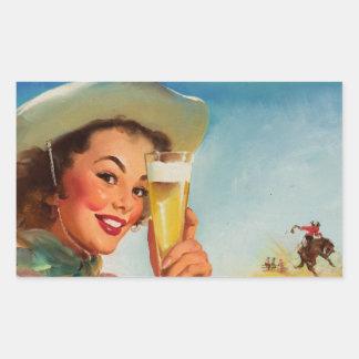 Vintage Gil Elvgren Beer Western Pin up Girl Rectangular Sticker