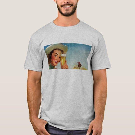 Vintage Gil Elvgren Beer Western Pin up Girl T-Shirt